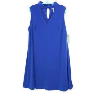 London Times Dress 20W Blue Sleeveless Keyhole